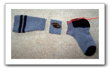picture of chopped sock that is illustrative of non-amputated foot