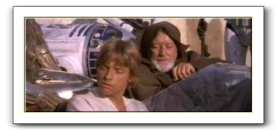 Luke Skywalker and Ben Kenobi in Mos Eisley